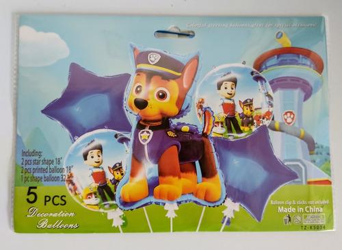 Set De 5 Globos Infantiles Metalizados, Paw Patrol.