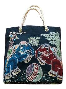 Bolsa Lona Azul-marinho Elefante Indiano C/alça Dupla Corda