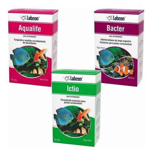 Imagem 1 de 1 de Labcon Kit Medicamento P/ Aquário Ictio Aqualife Bacter