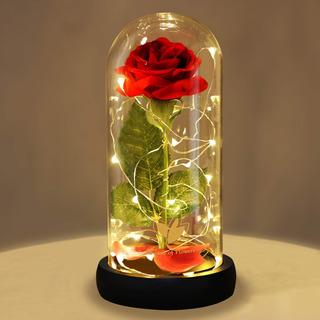 Rosa Eterna De Seda Roja Cúpula De Vidrio Con Luz Led Negro