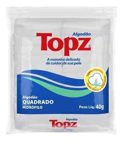 Kit 10 Algodão Quadrado Topz 40g