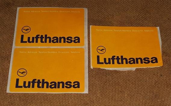 Lufthansa - 3 Adesivos Raros De Bagagem