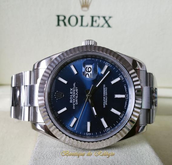 Relógio Eta - Modelo Datejust Dial Azul - Aço 904l Arf Best
