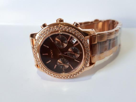 Relógio Original Donna Karan Dkny Dourado E Chocolate