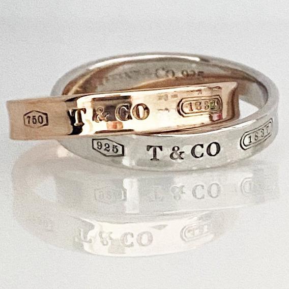 Anillo Tiffany & Co. 1837tm En Oro De 18k Y Plata Original