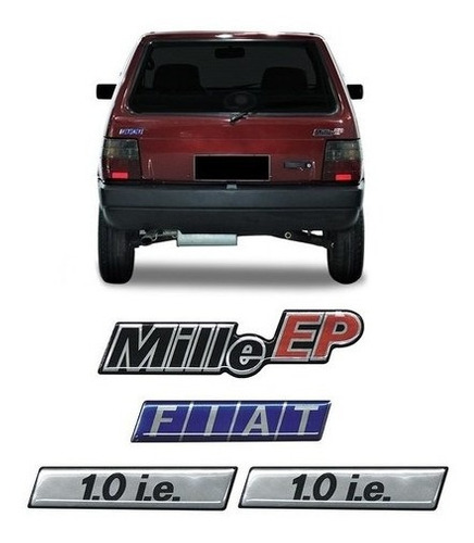 Imagem 1 de 5 de Kit Adesivos Fiat Uno Mille Ep 1.0 I.e Emblemas Resinado