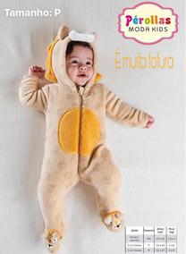 Macacão Infantil Pelúcia Leão Bebê Tip Top