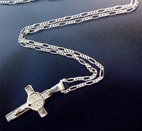 9aa893714f40 Cadena Y Cruz De San Benito Crucifijo En Plata.925