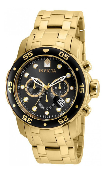 Relógio Invicta 80064 Pro Diver Dourado Visor Preto