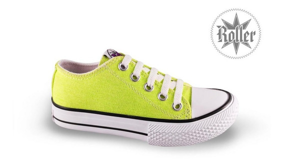 Zapatillas Lona Roller Star Fluor Neon Niñas Simil Converse