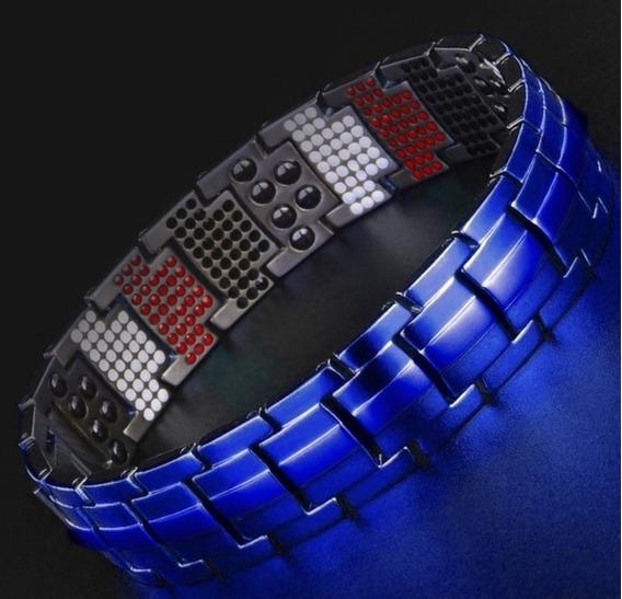 Pulseira Bracelete De Titânio Azul 591 Imãs Terapêuticos