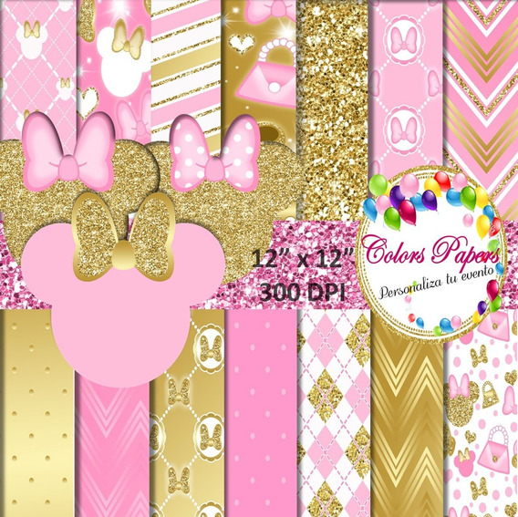 Minnie Mouse Fondos Dorado Y Rosa