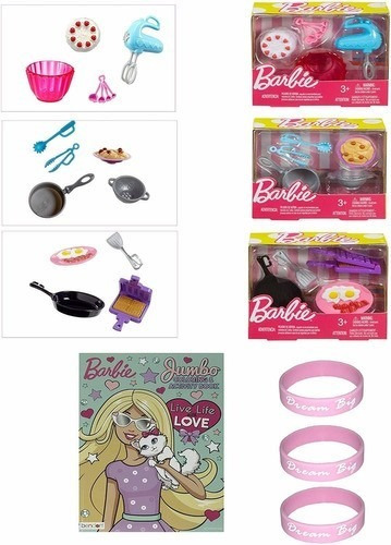 Kit De Cozinha Da Barbie Com Caderno De Colorir E Pulseiras