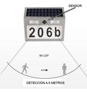 Numeros Residenciales Con Caja Solar Y Luz Detector De Mov.