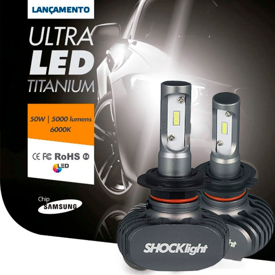 Kit Lâmpadas Ultra Led H7 6k 10000lm Titanium Shocklight