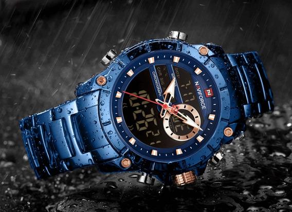 Relógio Masculino Naviforce Pulseira De Aço + Chave Ajuste
