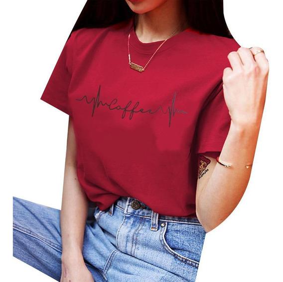 Camiseta Feminina De Moda Redonda Gola Redonda Com Estampa D