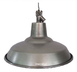 Pantalla De Cancha Galponera Aluminio 45 Cm Con Gancho Y Portalámparas - Mecaluz
