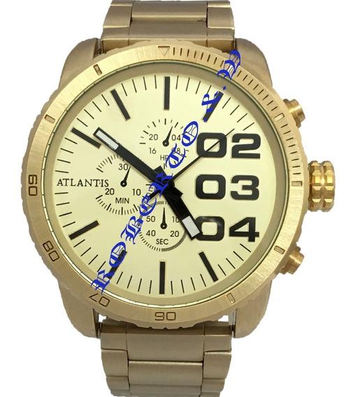 Relógio Masculino Atlantis Dourado ## Frete Gratis