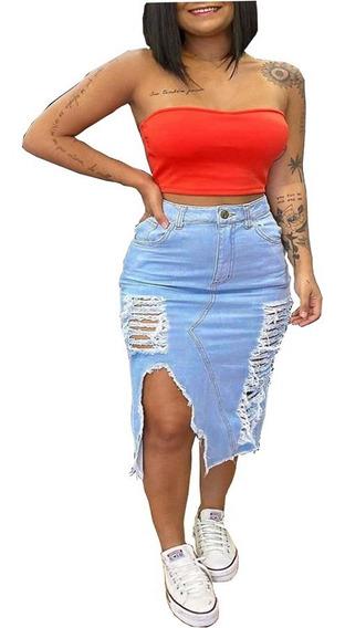 Saia Jeans Midi Destroyed Moda Blogueiras
