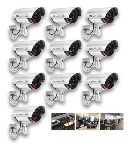 Imagen 1 de 6 de Kit 10 Cámaras Seguridad Falsa Exterior C/luz Led Vigilancia