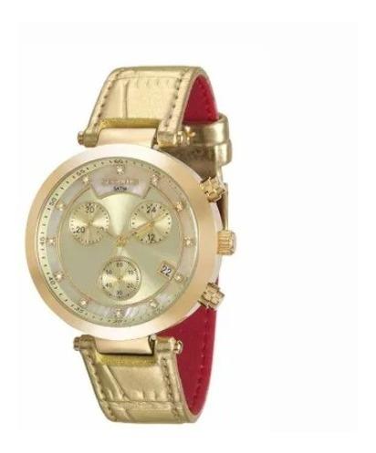 Relógio Pulso Cronógrafo Pink Dourado Visor Madrepérola Fem