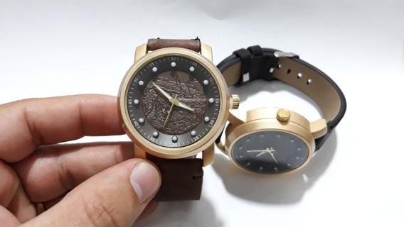 Relógio Masculino Redondo Bateria Pulseira De Couro