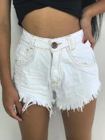 Short Jeans Cintura Alta Desfiado Roupas Femininas Usado