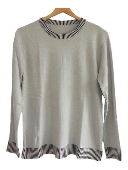 Sweater Color Crema Y Rayas Negras ( Muy Buen Estado ) #sw