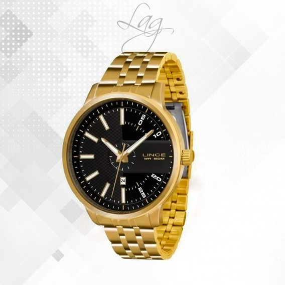 Relógio Lince Mrgh019s P2kx Dourado Redondo Preto - Refinad