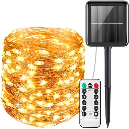 22m 200 Led Luces Solares Exterior Decoración Control Remoto