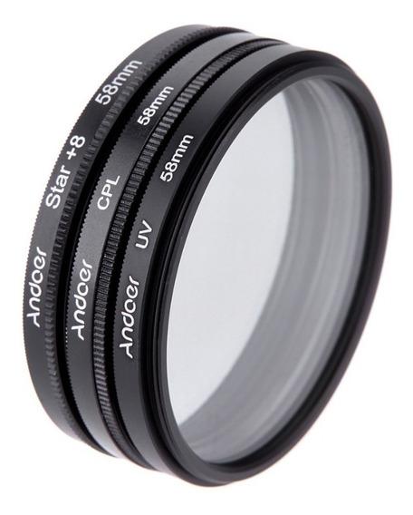 Filtros Kit (cpl Uv Star+8) 58mm Nikon Canon Pronta Entrega