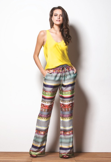 Calça Feminina Pantalona Cetim Estampado Straits Scalon Leticia 142029