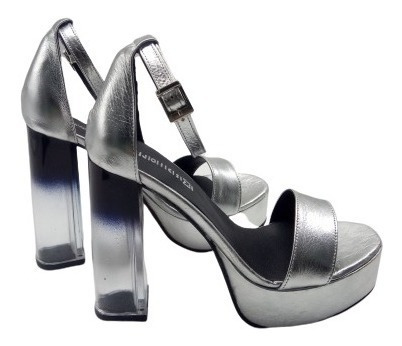 Sandalias Cuero Plataforma Taco Transparente Zapato Mujer Fb