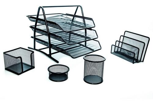 Bandeja Papelera Metal Portapapeles + Kit Oficina Escritorio