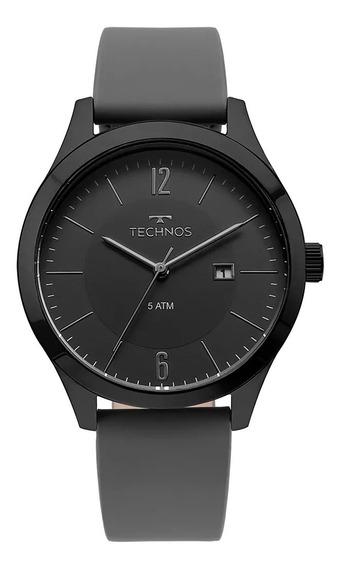 Relógio Masculino Preto Technos Com Data Pulseira Cinza +nf