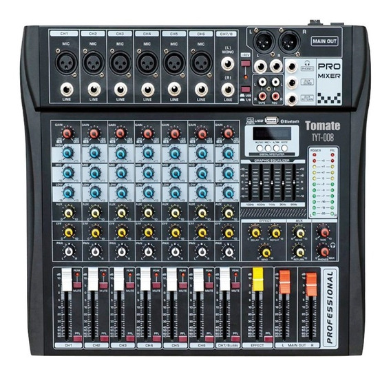 Mesa De Som Tomate Bluetooth Usb Mixer Mp3 Digital 8 Canais
