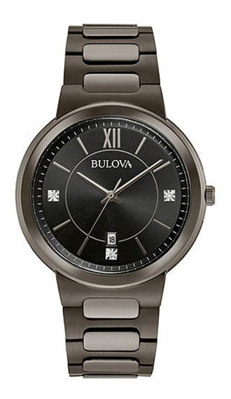 Reloj Bulova Hombre 98d162, 3 Diamantes,pvd Negro,fecha,30m