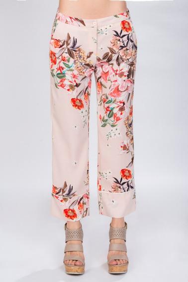 Pantalones Dama Moda Ancho Flojo Floreado Rosa W81106