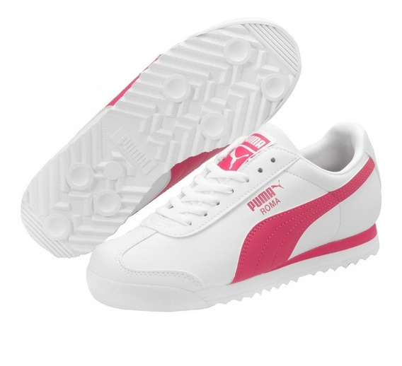 Tenis Puma Roma De Dama Color Blancos Con Rosa 100% Original