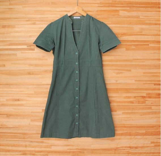 Vestido Botões Verde Militar Manga Curta Marcia Mello Tam P