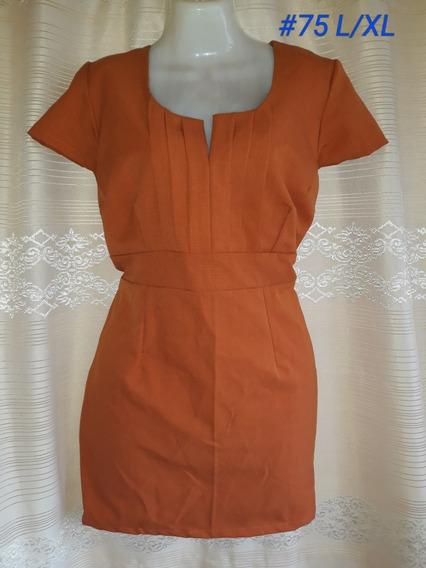 Vestido Vintage Color Naranja/ladrillo(#75) Talla L/xl