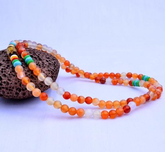 Pulsera Collar Oración Budista Piedra Agata Natural 6mm