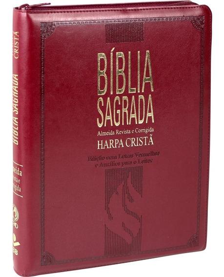 Bíblia Grande Com Harpa Cristã Letra Gigante Zíper Índice V