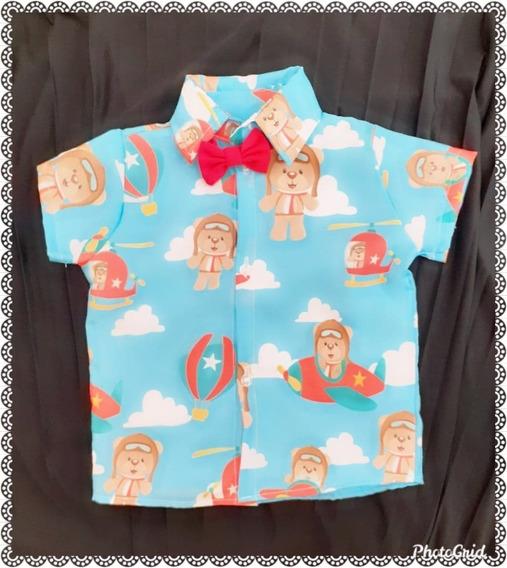Camisa Temática Ursinho Aviador Luxo Festa