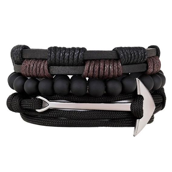Kit Três Pulseiras Bracelete Âncora Ajustável Couro Legítimo