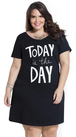 Vestido Curto Plus Size Tipo Camiseta Feminina Manga Curta