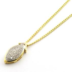Gargantilha Ouro 18k Folha Com 15 Diamantes