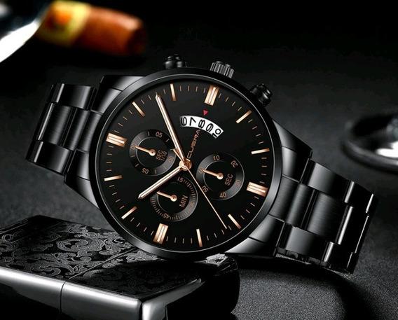 Relógio Masculino Dourado Black Motion Quartz