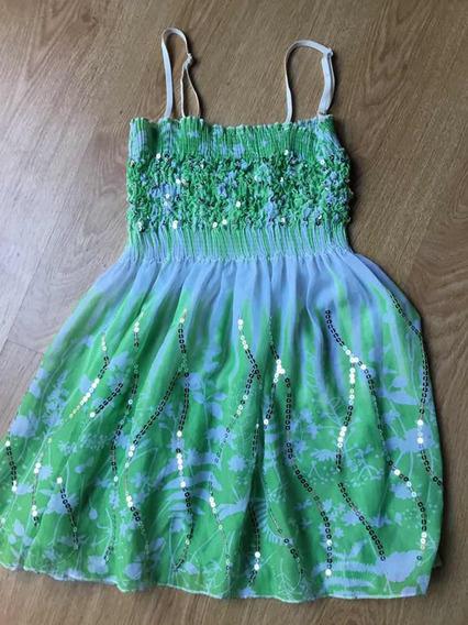 Remerita/vestido De Gasa Ajustable Con Lentejuelas(importado